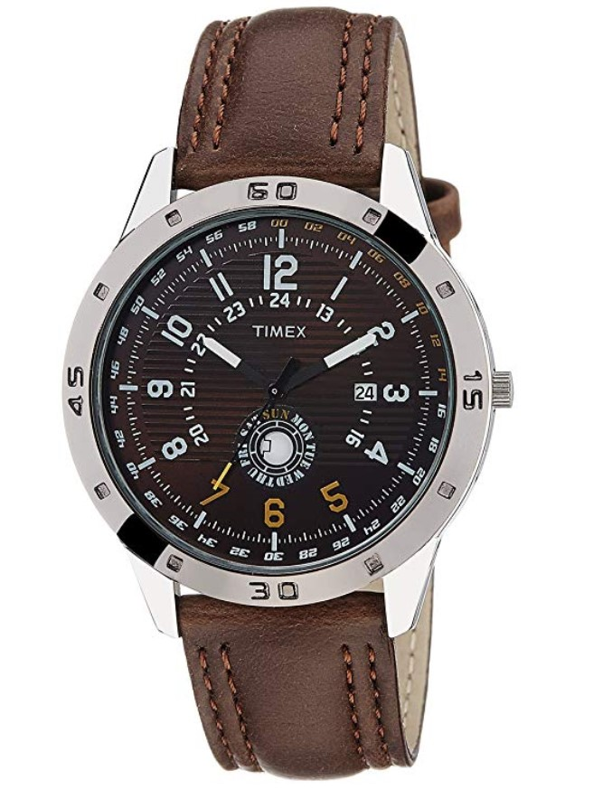 Brown Strap Analog Watch from Timex