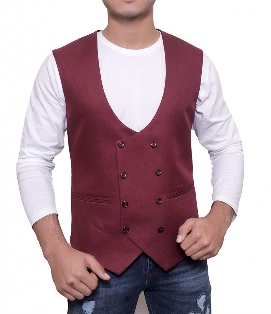 Double-breasted men's vest available on Amazon is one of the top men's vest styles